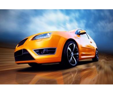 Фотообои Красивый оранжевый спортивный автомобиль на дороге