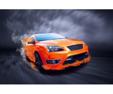 Фотообои Красивый оранжевый спортивный автомобиль в огоне