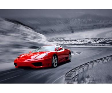 Фотообои Красный спорткар на дороге