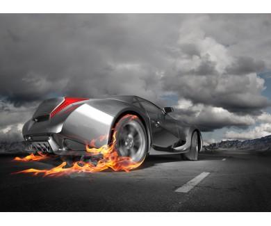 Фотообои Спортивный автомобиль, горение
