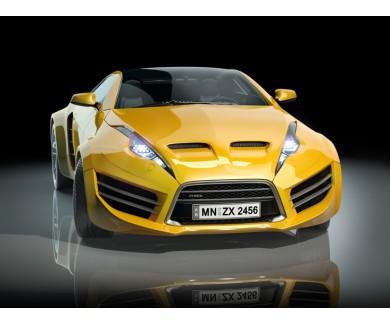 Фотообои Желтый спортивный автомобиль на чёрном фоне