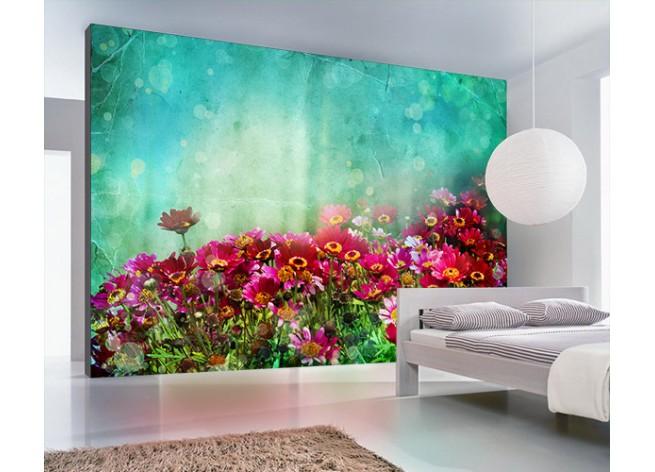 Фотообои Букет цветов на зелёном фоне
