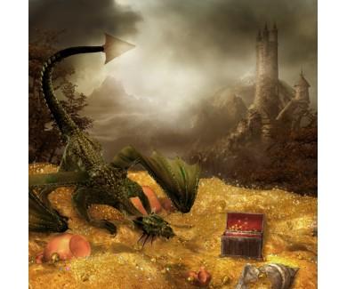 Фотообои Фантазия - сокровище дракона  и замок
