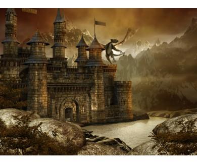 Фотообои Мифический замок и дракон