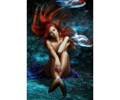 Фотообои Русалка с красными волосами