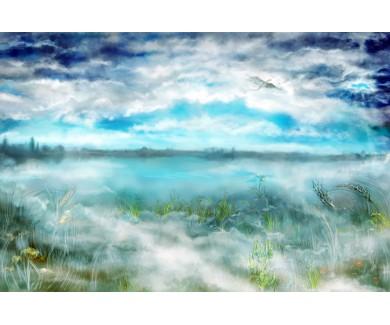 Фотообои Туманный пейзаж и дракон летающий под облаками