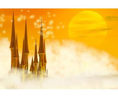 Фотообои Золотой сказочный замок в облаках