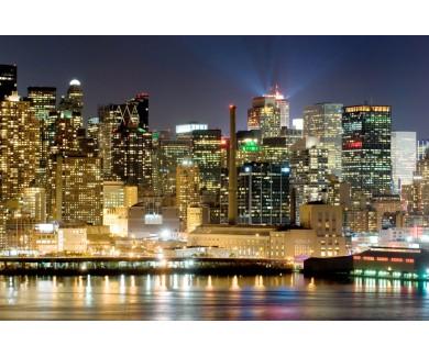 Фотообои Вид на ночной Нью-Йорк с воды