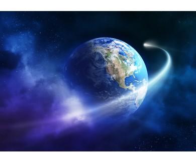 Фотообои Проход кометы вокруг Земли