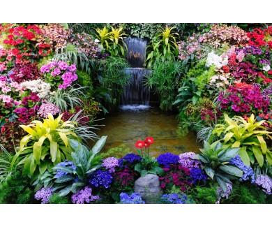 Фотообои Цветы и водопад