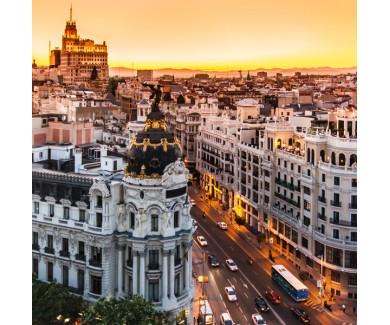 Фотообои Панорамный вид на главную улицу Мадрида