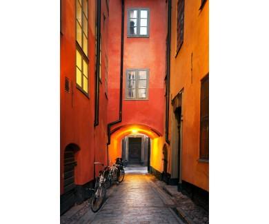 Фотообои Узкая аллея в старом городе Стокгольма, Швеция