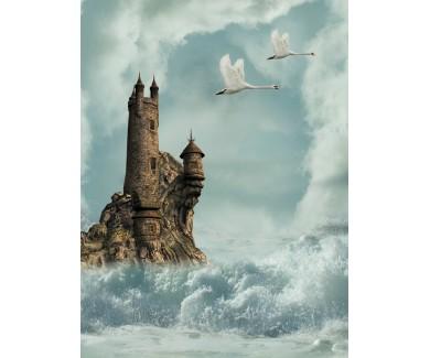 Фотообои Замок в океане, лебеди и волны