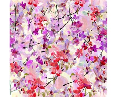 Фотообои Абстрактная акварель сакуры и орхидеи