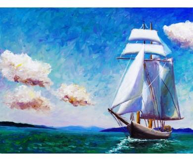 Фотообои Картина Маслом - Парусная Лодка