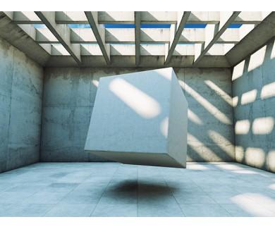 Фотообои Бетонная конструкция с абстрактным кубом