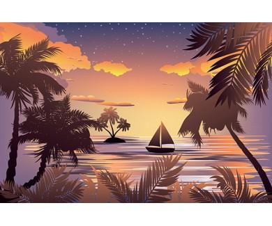 Фотообои Тропический морской пейзаж, силуэт лодки и пальмового острова