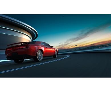 Фотообои Красный автомобиль с размытым фоном