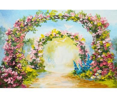 Фотообои Арка из цветов в парке