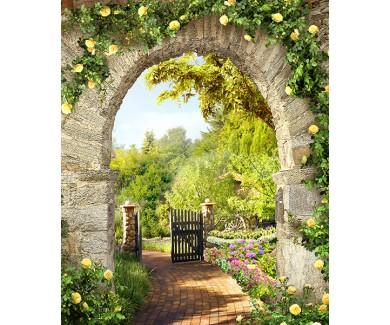 Фотообои Каменная арка с цветами