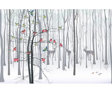 Фотообои Животные зимой в лесу