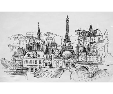Фотообои Париж, рисунок карандашом