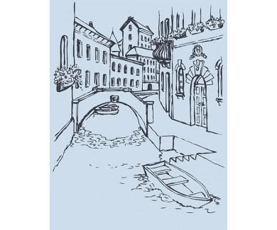 Фотообои Узкая Венецианская улица с мостом и гондолами