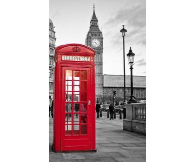Фотообои Красная телефонная будка на чёрно белом фоне