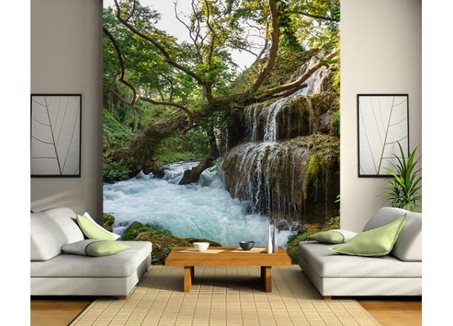 Фотообои Водопад на зелёном холме