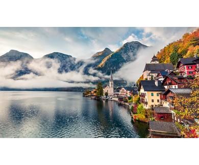 Фотообои Великолепный утренний вид на деревню Гальштат, в горном регионе Австрии