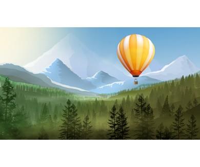 Фотообои Воздушный шар на фоне гор