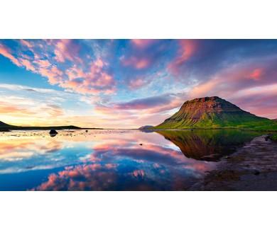 Фотообои Красочный летний закат и гора Киркюфелл