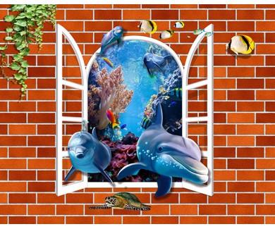 Фотообои Кирпичная стена с дельфинами из окна