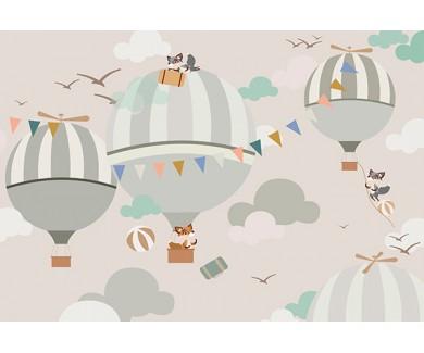 Фотообои Лисята на воздушеых шарах