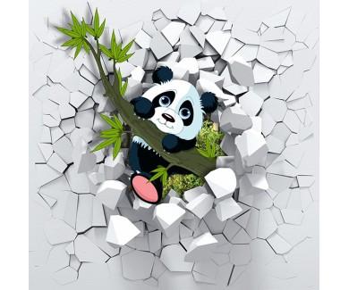 Фотообои Маленькая панда, выглядывающая из стены