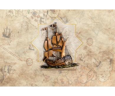 Фотообои Корабль на фоне карты