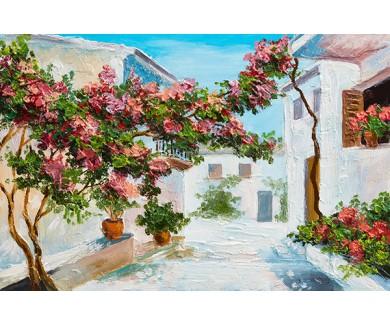 Фотообои Дом у моря, яркие цветы и деревья