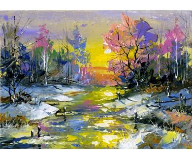 Фотообои Зимний пейзаж, выполненный маслом на холсте