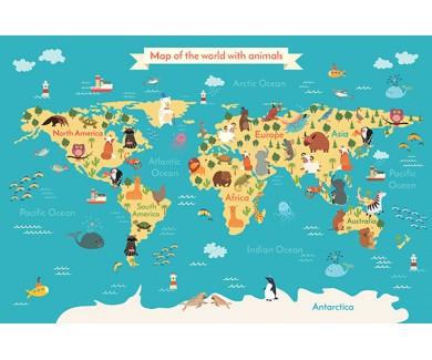 Фотообои Карта животных
