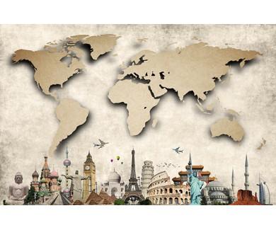 Фотообои Карта и семь чудес света