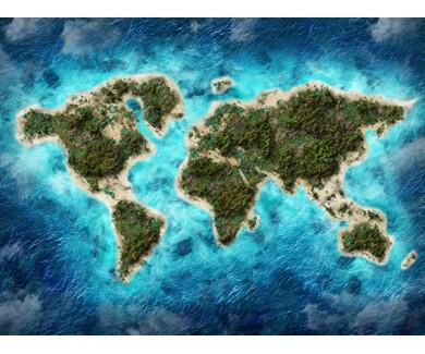 Фотообои Карта с гормами, океанами и лесами