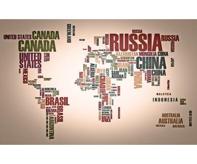 Фотообои Названия стран на карте