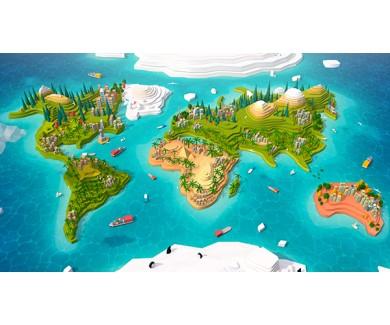Фотообои Объёмная карта мира