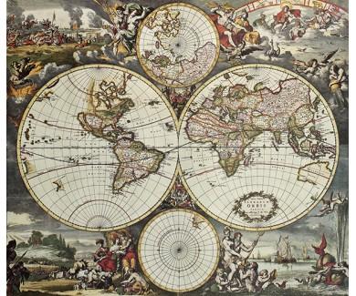 Фотообои Старая карта полушарий мира