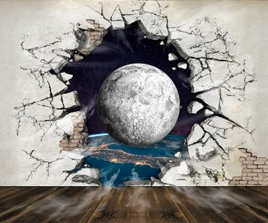 Фотообои Луна и пролом встене