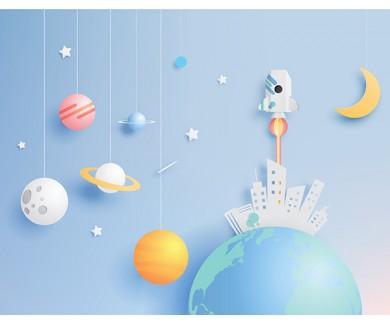 Фотообои Ракета и планеты, рисунок