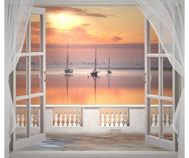 Фотообои Вечерние декорации в окне