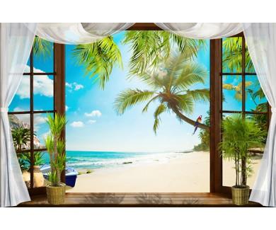 Фотообои Вид из окна на пляж