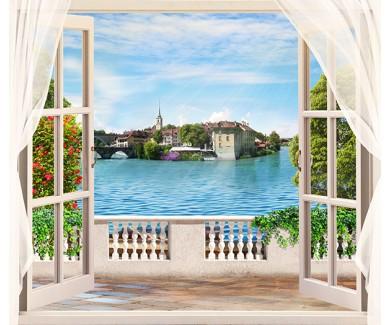 Фотообои Дневные декорации в окне