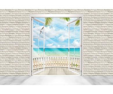 Фотообои Кирпичная стена и окно с видом на пляж